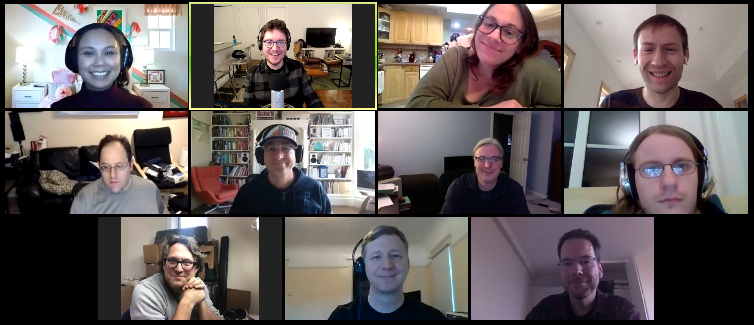 A screenshot of the Zoom video conferencing app with 11 smiling faces.