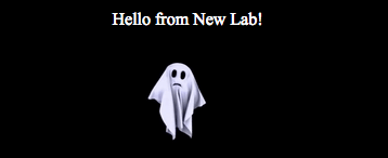 'Hello from New Lab' text with ghost separator image