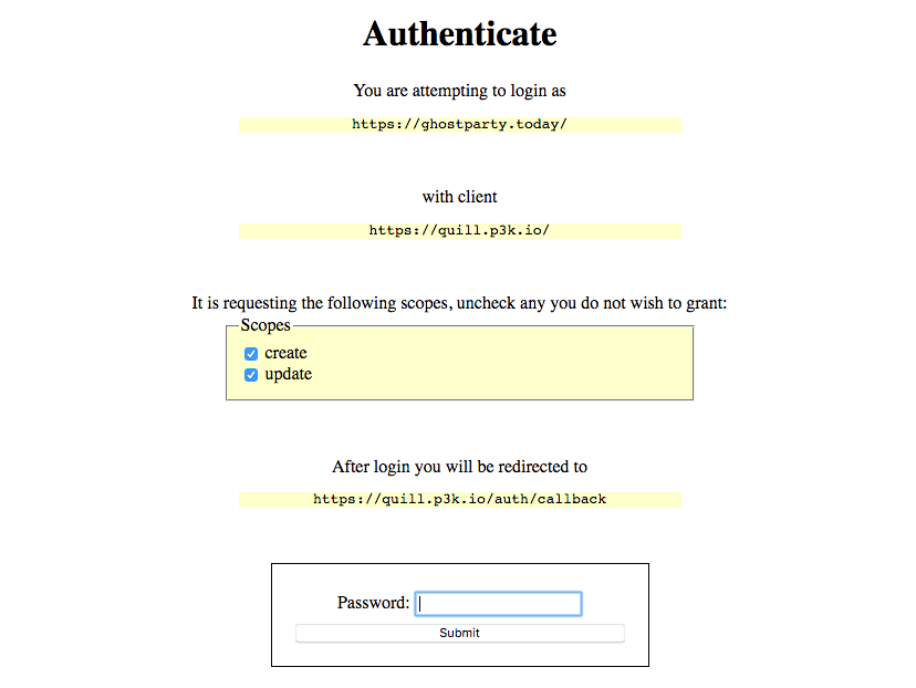 Interface displaying text 'You are attempting to login as https://ghostparty.today/ with client https://quill.p3k.io/' along with a password prompt.